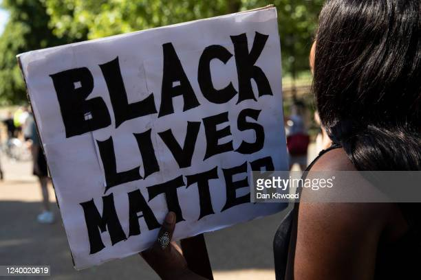 Protesters take part in a 'Black Lives Matter' demonstration near Marble Arch on June 01 2020 in London England The death of an AfricanAmerican man...