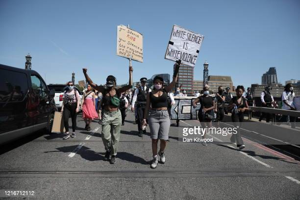 Protesters take part in a 'Black Lives Matter' demonstration on June 01 2020 in London England Protests and riots continue across American following...