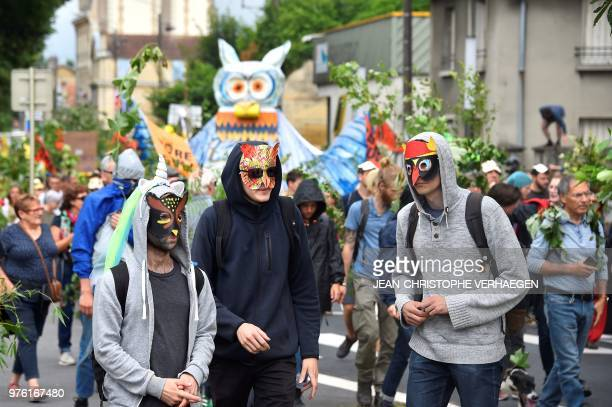 Protesters take part in a demonstration against 'Cigeo' a huge center for burrying nuclear waste in BarleDuc eastern France on June 16 2018 The...