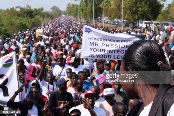 Protesters take part in a demonstration against Gambian President, in Banjul, Gambia, on December 16, 2019.