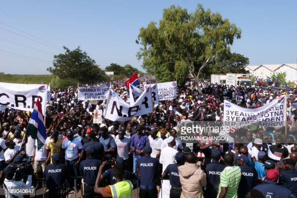 Protesters take part in a demonstration against Gambian President in Banjul Gambia on December 16 2019