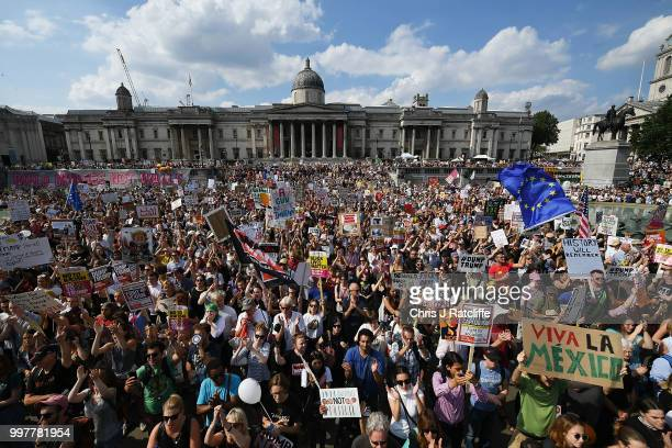 Protesters take part in a demonstration against President Trump's visit to the UK in Trafalgar Square on July 13 2018 in London England Tens of...
