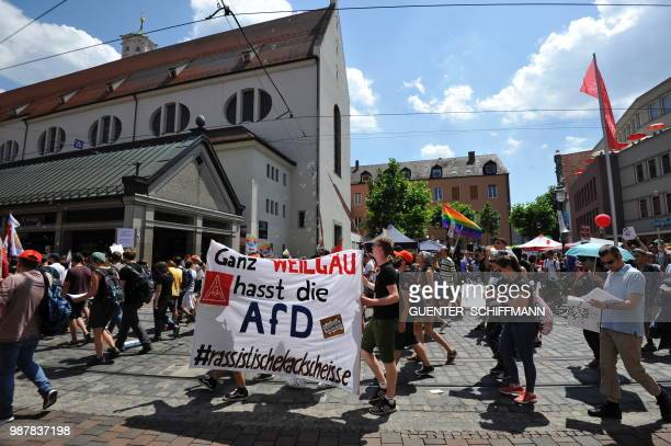 Protesters take part in a demonstration against the AfD at the start of a twoday party congress of Germany's farright and antiimmigration party AfD...