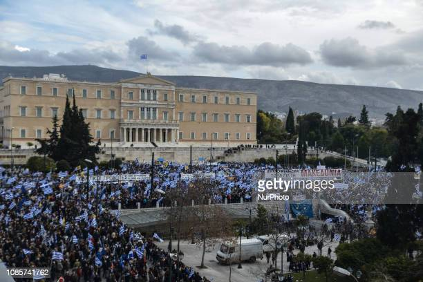 Protesters take part in a demonstration at Syntagma square near the Greek Parliament against the agreement with Skopje to rename neighbouring country...