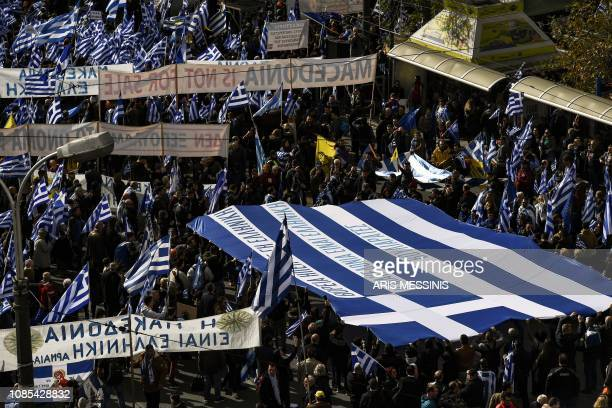 Protesters take part in a demonstration near the Greek Parliament against the agreement with Skopje to rename neighbouring country Macedonia as the...