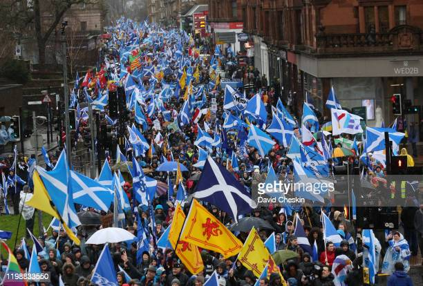 Protesters take part in a Pro-Independence march on January 11, 2020 in Glasgow, Scotland. Tens of Thousands of people joined the All Under One...