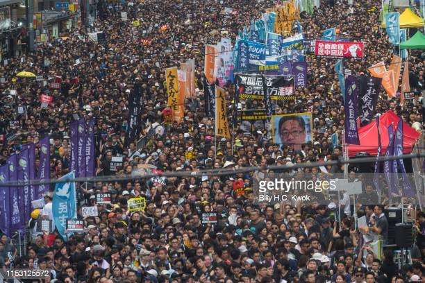 Protesters take part in a rally against extradition bill on July 1 2019 in Hong Kong China Thousands of prodemocracy protesters faced off with riot...