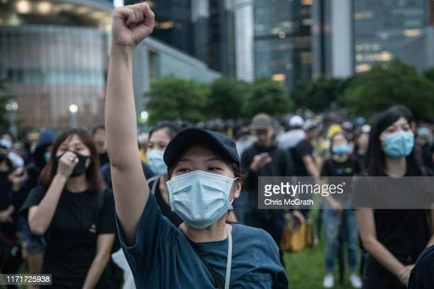 Protesters take part in a school boycott rally at Tamer Park in Central district on September 2 2019 in Hong Kong on September 02 2019 in Hong Kong...