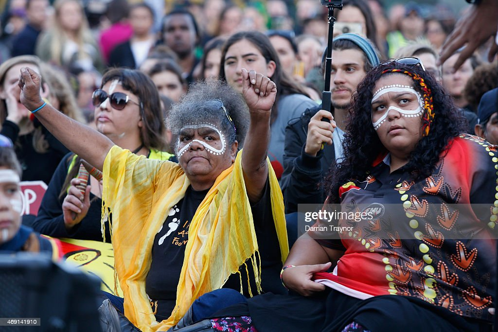 Aboriginal Rights Activists Stage A Rally In Melbourne's CBD : News Photo