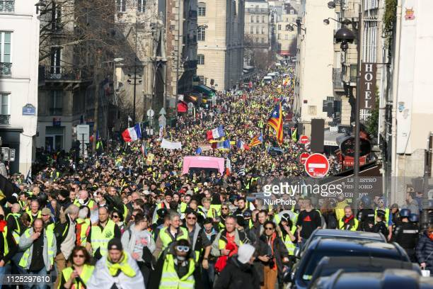 Protesters take part in a Yellow vest antigovernment demonstration on February 16 2019 in Paris Demonstrators hit French city streets again on...