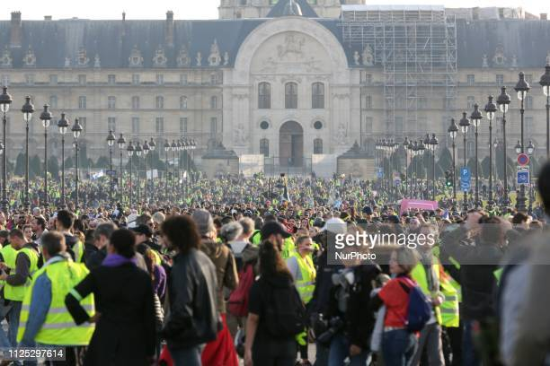 Protesters take part in a Yellow vest antigovernment demonstration on February 16 2019 in Paris on Esplanade des Invalides Demonstrators hit French...