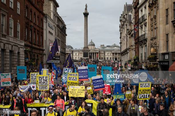 Protesters take part in the Put It To The People March on Whitehall on March 23 2019 in London England Thousands of protesters gathered in central...