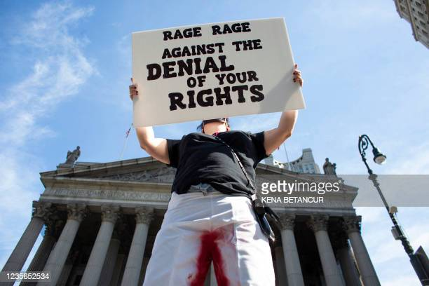 Protesters take part in the Women's March and Rally for Abortion Justice in New York, on October 2, 2021. - The abortion rights battle took to the...