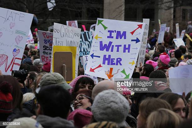 Protesters take to the National Mall to demonstrate against the presidency of Donald Trump Washington, DC on January 21, 2017. Hundreds of thousands...