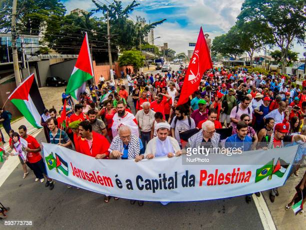 Protesters take to the street of Sao Paulo Brazil on December 15 2017 to denounce US President Donald Trump's decision to name Jerusalem the capital...