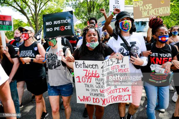 Protesters take to the streets after the programming on the Lincoln Memorial during the Commitment March on August 28, 2020 in Washington, DC. Rev....