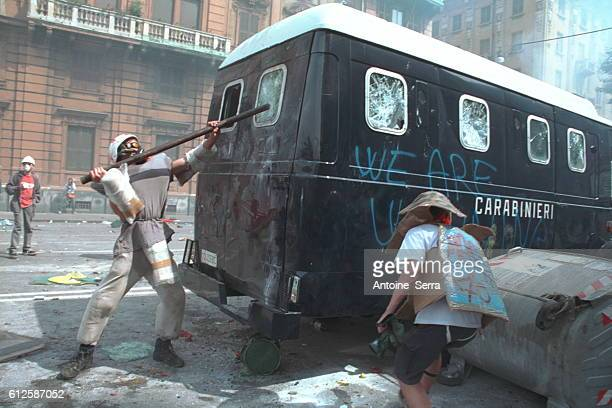 Protesters targeted the carabinieri tanks during the anti-globalization riots at the G8 Summit.