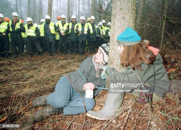 Protesters to the Newbury ByPass tie themselves to trees in an attempt to stop them being cut down on a site in Penwood outside Newbury