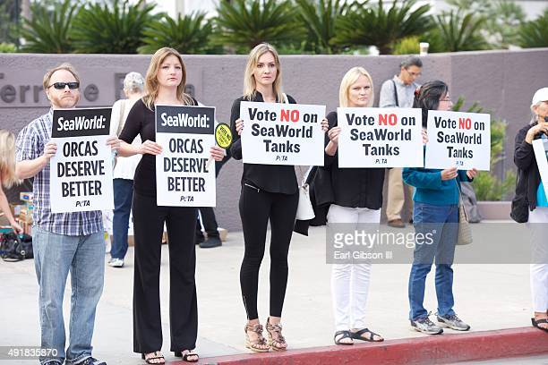 Protesters Urge 'No' Vote on SeaWorld Propesed New Orca Prisons at Long Beach Convention Center on October 8 2015 in Long Beach California