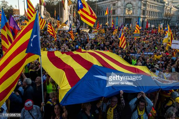 Protesters waiving Catalan independence flags during a demonstration under the slogan 'Selfdetermination is not a crime' Protesters are demanding the...