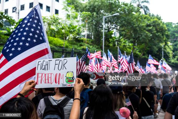 Protesters wave American flags while carrying placards urging the USA to enact the Hong Kong Human Rights Act during the demonstration. Thousands of...