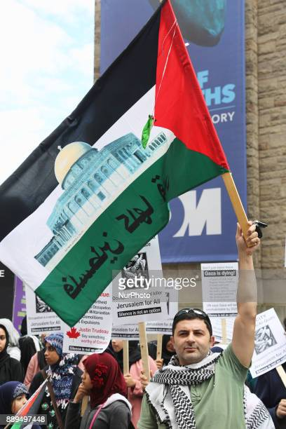 Protesters wave Palestinian flags during a demonstration in Toronto Canada on July 29 to protest against Israel and to show solidarity with the...
