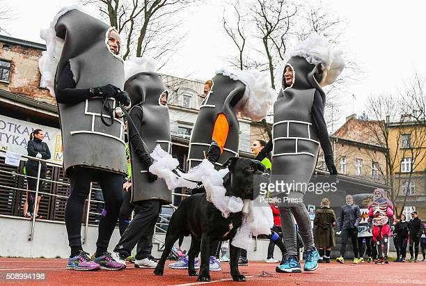Protesters wearing funny costumes run in an antismog demonstration in Krakow and call for cleaner air Krakow's air is among the most polluted