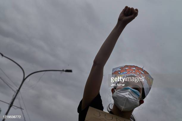 Protesters wearing protective masks participate in a rally to protest president Dutertes Anti-Terror Bill on June 12, 2020 in Manila, Philippines....