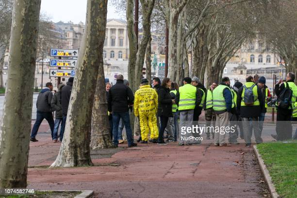 Protesters wearing quotYellow Vestsquot gather in a street near the Chateau de Versailles in Versailles outside Paris on December 22 2018 The...