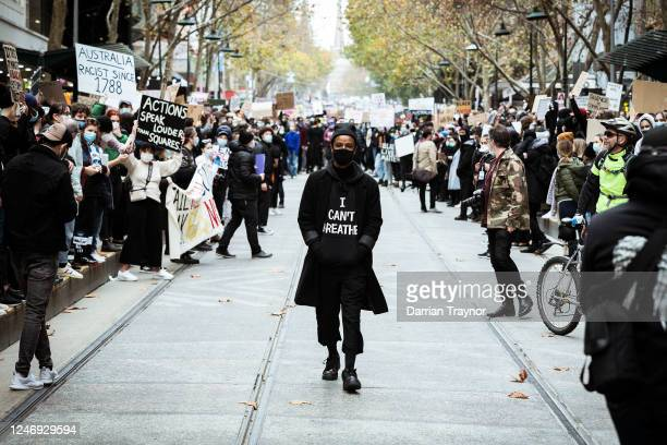 Protesters wears a shirt with the words 'I cant Breathe' on June 06, 2020 in Melbourne, Australia. Events across Australia have been organised in...
