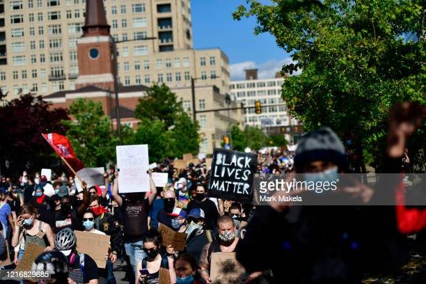 protesters with a BLACK LIVES MATTER sign march through Center City on June 1 2020 in Philadelphia Pennsylvania Demonstrations have erupted all...