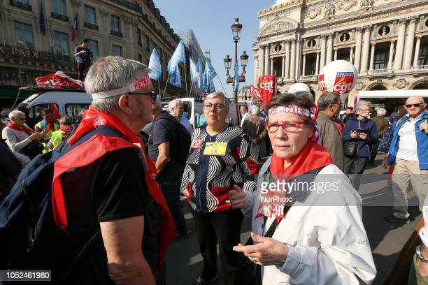 Protesters with a headband reading « angry retired people » gather near the Opera House during a demonstration called by pensioners' unions on...