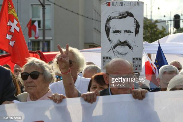 Protesters are seen near Gdansk Poland on 31 August 2018 People protest against government changes in the judicial and other aspects of the Polish...