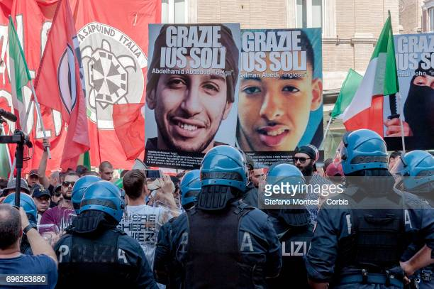 Protesters with photos of terrorists who are naturalized European perpetrators of suicide bombings during the sit-in of CasaPound near the Senate...