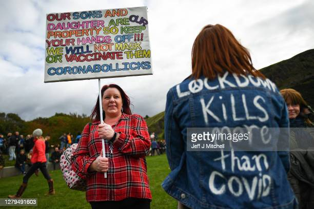 Protesters with placards gather outside the Scottish Parliament entrance to demonstrate against new coronavirus restrictions face covering rules and...