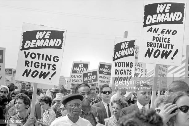 Protesters with Signs at March on Washington for Jobs and Freedom, Washington, D.C., USA, photo by Marion S. Trikosko, August 28, 1963.