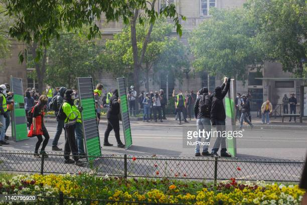 Protesters would not give the police an inch it became a fight for every part of the street during May 1st Protesters used anything available for...