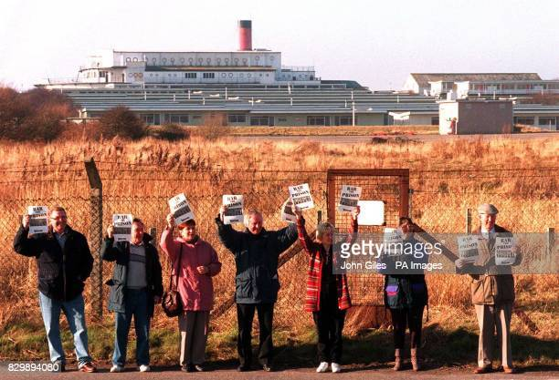 Protesting against a proposed Prison at a former Pontins Holiday Camp near Heysham today The Director General of the Prison Service Richard Tilt was...