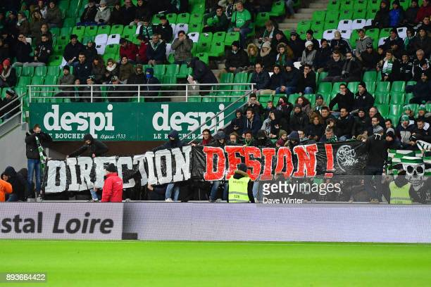 Protesting St Etienne fans during the Ligue 1 match between AS SaintEtienne and AS Monaco at Stade GeoffroyGuichard on December 15 2017 in...