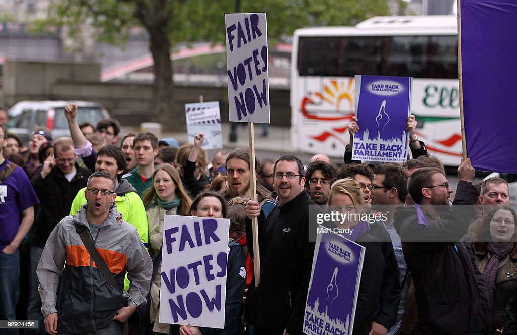 Electoral Reform Protesters Outside Liberal Democrat Meeting : News Photo