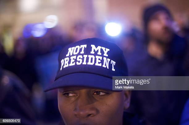 Protestor demonstrates before dawn near the National Mall before the inauguration of Donald Trump as the 45th President of the United States January...