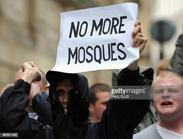 A protestor from the English Defence League takes part in a demonstration against Islamic extremism in Birmingham central England on September 5 2009...