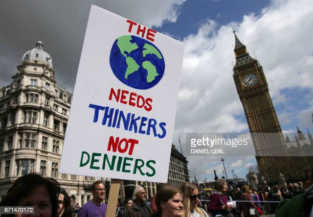 A protestor holds a placard as scientists and science enthusiasts participate in the 'March for Science' which celebrates the scientific method in...