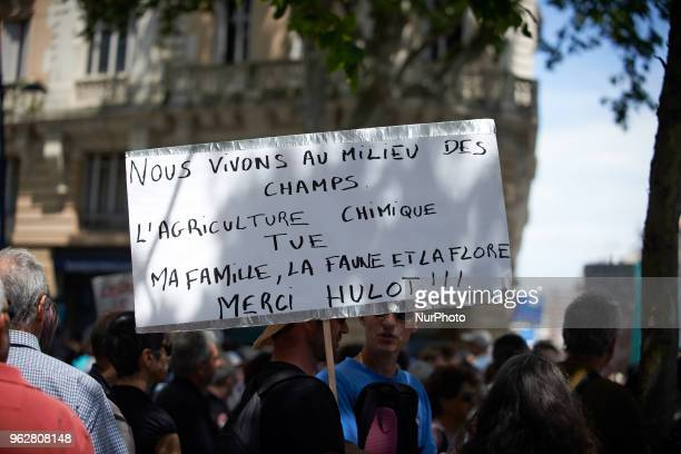 A protestor holds a placard reading 'We live amid fields Chemical agriculture kills my family fauna flora Thanks Hulot' A 'maree populaire'...
