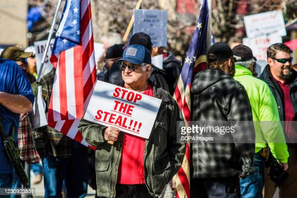 Protestor holds a placard saying Stop the steal during the demonstration. Protesters gathered at the state's legislative building to protest various...