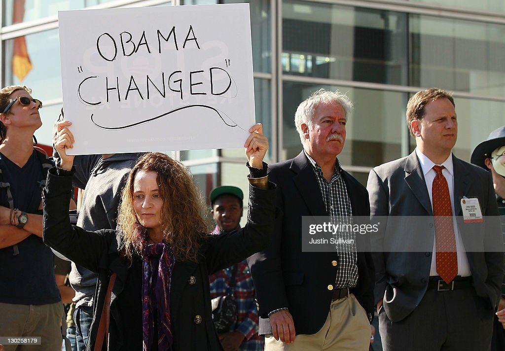 A protestor holds a sign as she demonstrates outside of the W Hotel where U.S. President Barack Obama is holding a fundraiser on October 25, 2011 in San Francisco, California. Hundreds of protestors from a wide variety of activist groups staged protests outside of the W Hotel where President Obama was holding a $7,500 per person fundraiser.