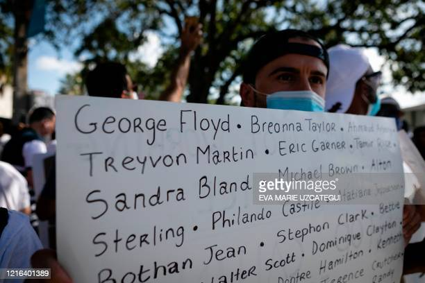 TOPSHOT A protestor holds a sign with the name of victims of police brutality during a rally in Coral Gables Florida on May 30 2020 in response to...