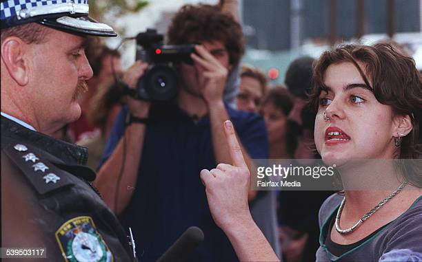 Protestor Kilty O'Gorman confronts inspector Ron Mason in the protest against increased police powers contained in the police public safety bill at...