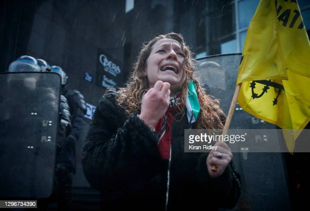 Protestor pleads with the French Riot Police during a demonstration against the Global Security Bill and Covid-19 Restrictions of the Arts and...