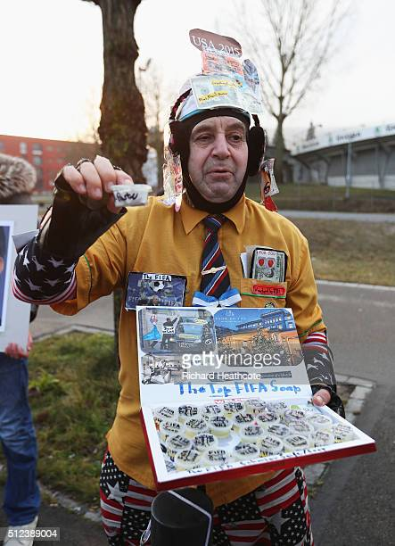 A protestor poses outside prior to the Extraordinary FIFA Congress at Hallenstadion on February 26 2016 in Zurich Switzerland